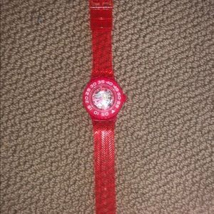 red deep berry blue SWATCH with dial